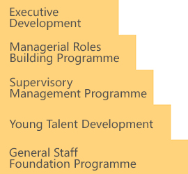 General Staff Foundation Programme; Young Talent Development; Supervisory Management Programme; Managerial Roles Building Programme; Executive Development
